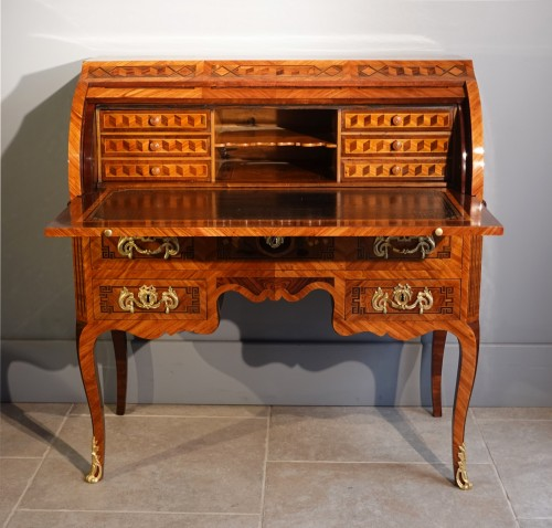 """Furniture  - French Louis XV Desk Called """"cylindre"""", Marquetry, 18th Century"""