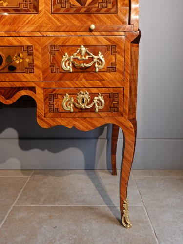 """Antiquités - French Louis XV Desk Called """"cylindre"""", Marquetry, 18th Century"""