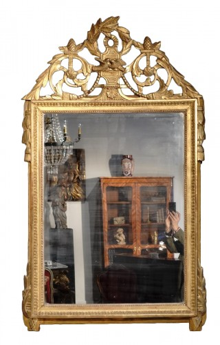"""Louis XVI Mirror, Gilded Wood, With The Attributes Of """"love"""""""