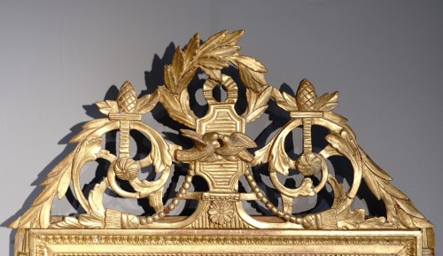 """Louis XVI Mirror, Gilded Wood, With The Attributes Of """"love"""" - Mirrors, Trumeau Style Louis XVI"""