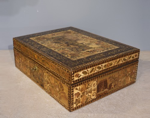 19th century straw marquetry box - Objects of Vertu Style Restauration - Charles X