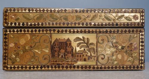 19th century - 19th century straw marquetry box