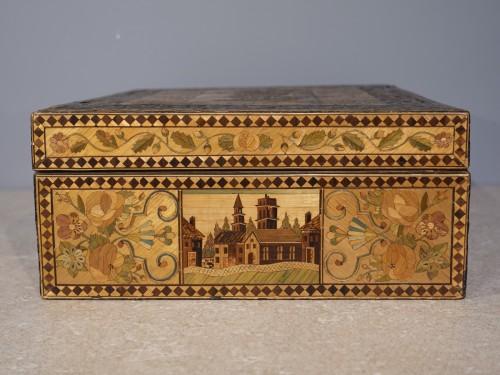19th century straw marquetry box - Restauration - Charles X