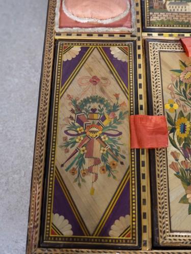 Antiquités - 19th century straw marquetry box