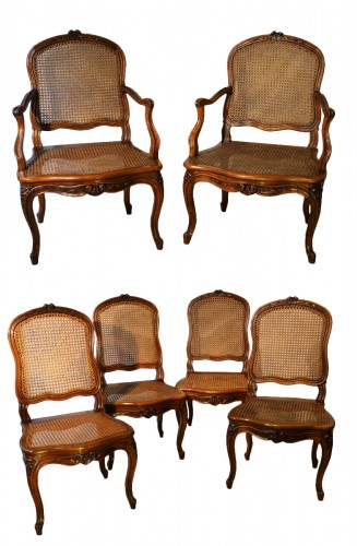 Set Of Two Louis XV Armchairs And Four Chairs
