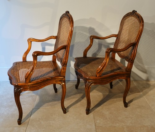 Louis XV - Set Of Two Louis XV Armchairs And Four Chairs