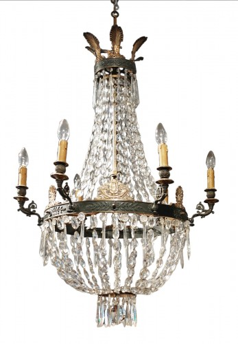 A 19th Century Bronze And Crystal Chandelier