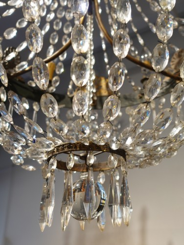 A 19th Century Bronze And Crystal Chandelier -