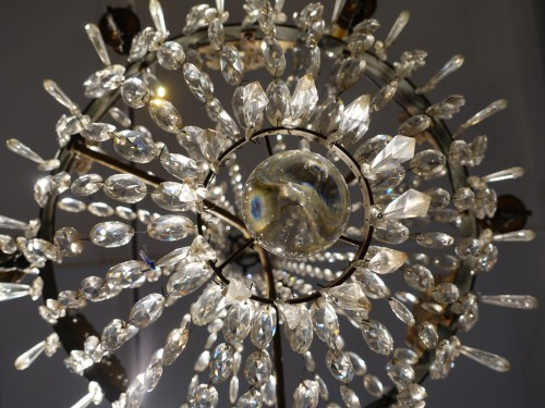 19th century - A 19th Century Bronze And Crystal Chandelier