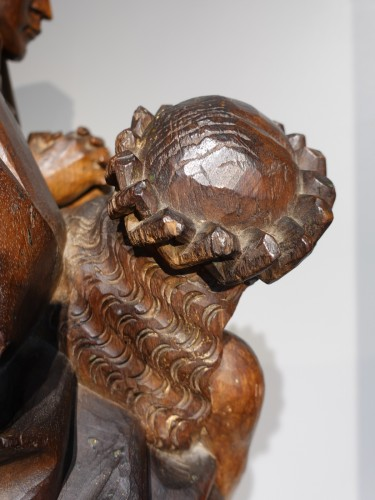 Middle age - French Pieta In Carved, Walnut, Late 15th Century