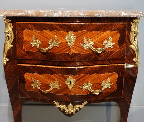 """Louis XV - French Louis XV Commode, Inlaid, Stamped """"s.vie"""""""