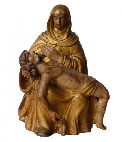 French Pieta, Polychrome Carved Wood, 17th Century