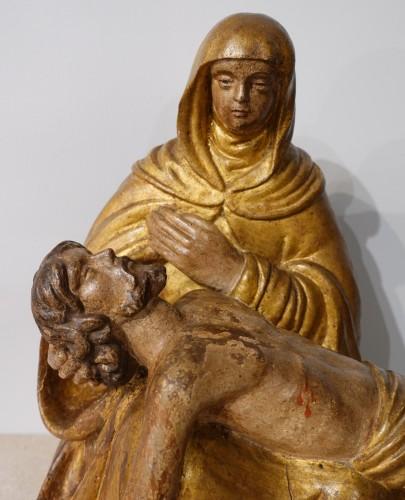 French Pieta, Polychrome Carved Wood, 17th Century -