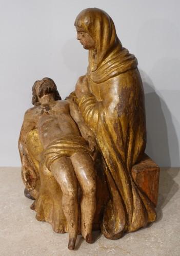 17th century - French Pieta, Polychrome Carved Wood, 17th Century