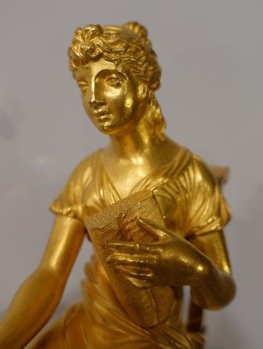 "Horology  - French Restauration Gilt bronze clock signed ""Mesnil in Paris"""
