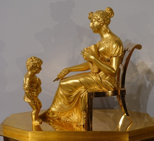 """19th century - French Restauration Gilt bronze clock signed """"Mesnil in Paris"""""""