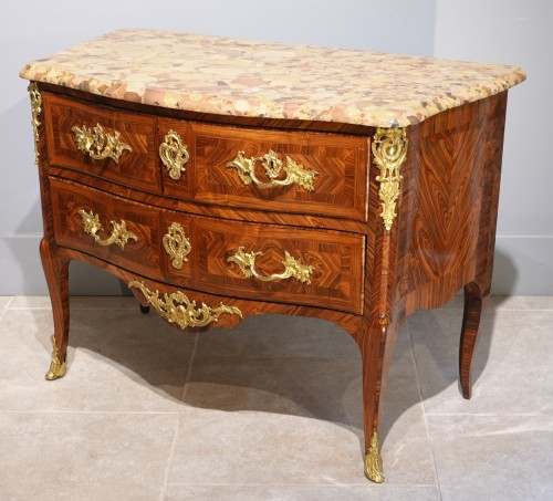 Louis XV - French Louis XV Chest Of Drawers, Stamped Hedouin, 18th Century