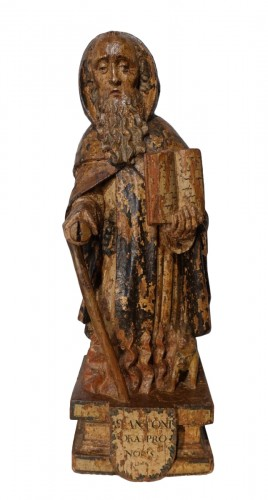 Saint Anthony hermit in carved and polychrome wood 17th century