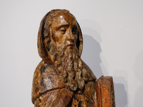 Sculpture  - Saint Anthony hermit in carved and polychrome wood 17th century