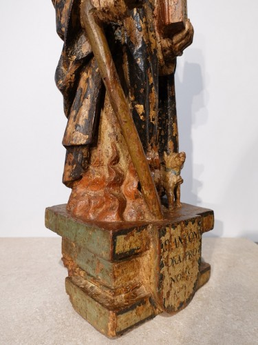 Saint Anthony hermit in carved and polychrome wood 17th century -