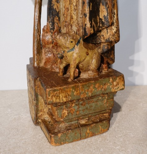 Saint Anthony hermit in carved and polychrome wood 17th century - Louis XIII