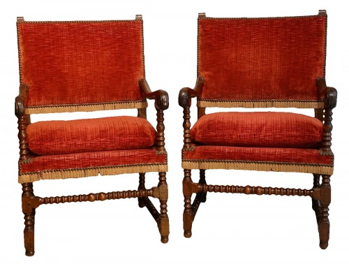 Pair of Louis XIII armchairs - 17th century