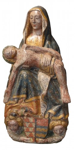 Pietà in carved polychromed and gilded stone - 15th century