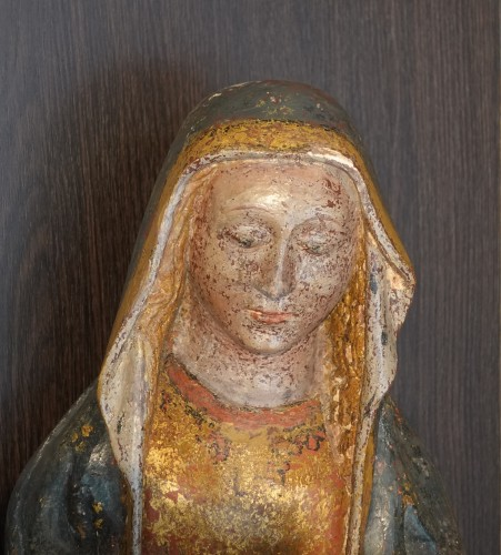 Pietà in carved polychromed and gilded stone - 15th century - Sculpture Style Middle age