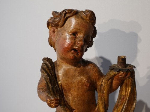 Pair of polychrome wooden Putti, 17th century -
