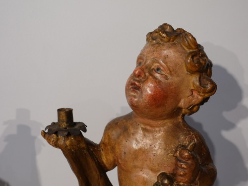 17th century - Pair of polychrome wooden Putti, 17th century