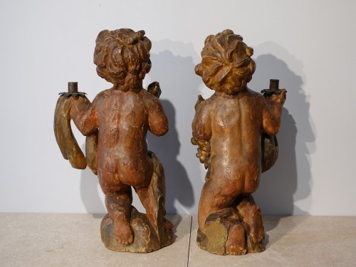 Pair of polychrome wooden Putti, 17th century - Louis XIII