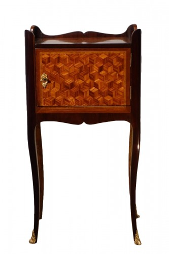 Louis XV bedside table in marquetry