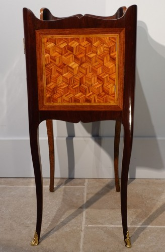 Louis XV bedside table in marquetry - Louis XV