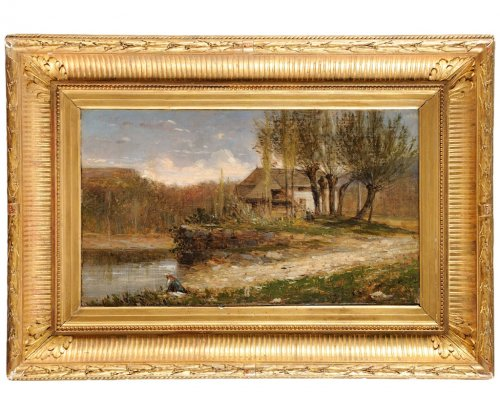 "Adolphe Appian ""Vue des Dombes"" oil painting"