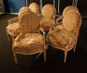Louis XVI lacquered armchairs, suite of 6