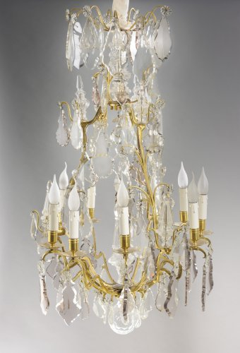 A French 19th century crystal cage chandelier