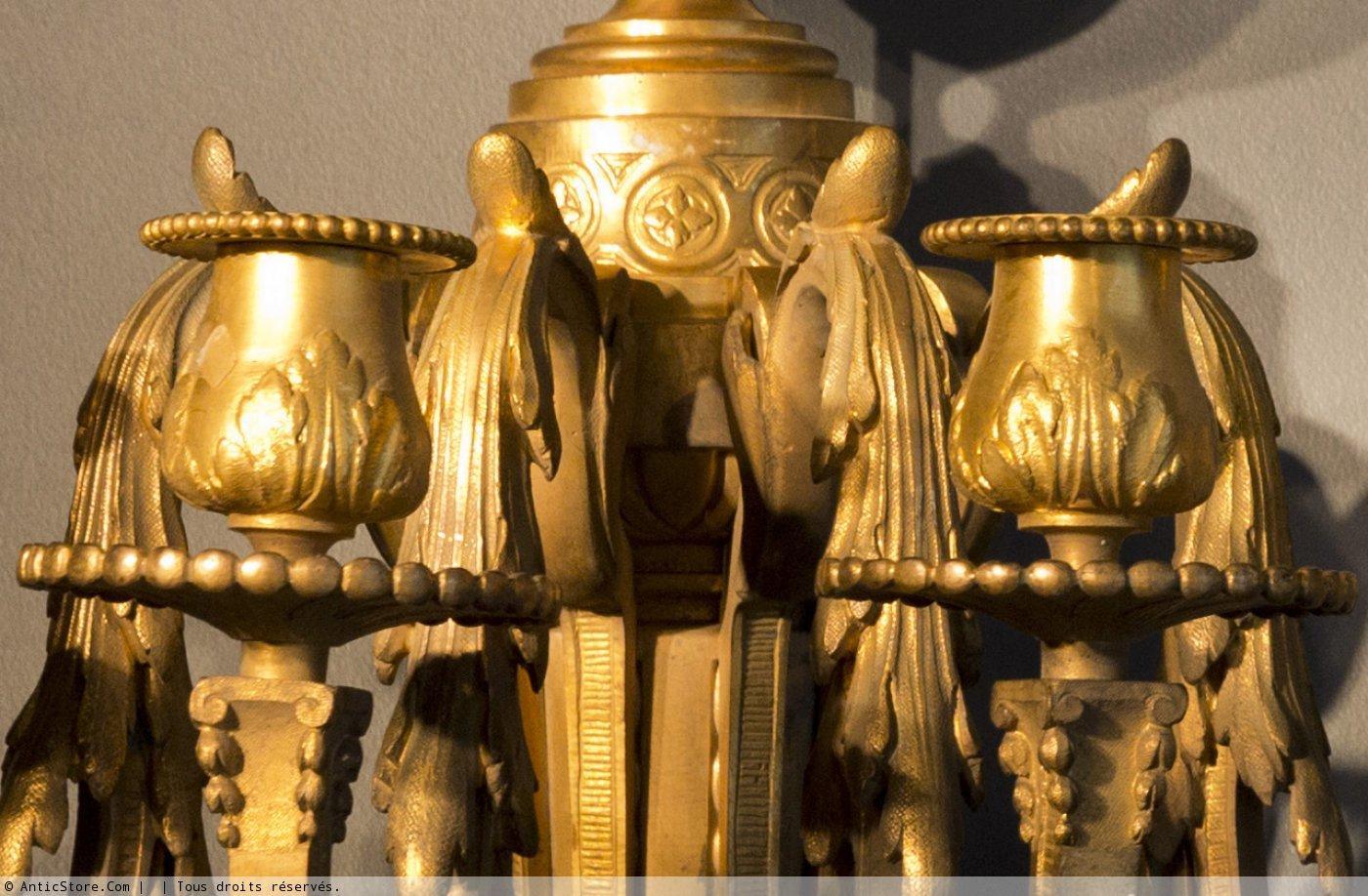 Paire d 39 appliques en bronze dor xixe si cle - Galerie gilles linossier ...