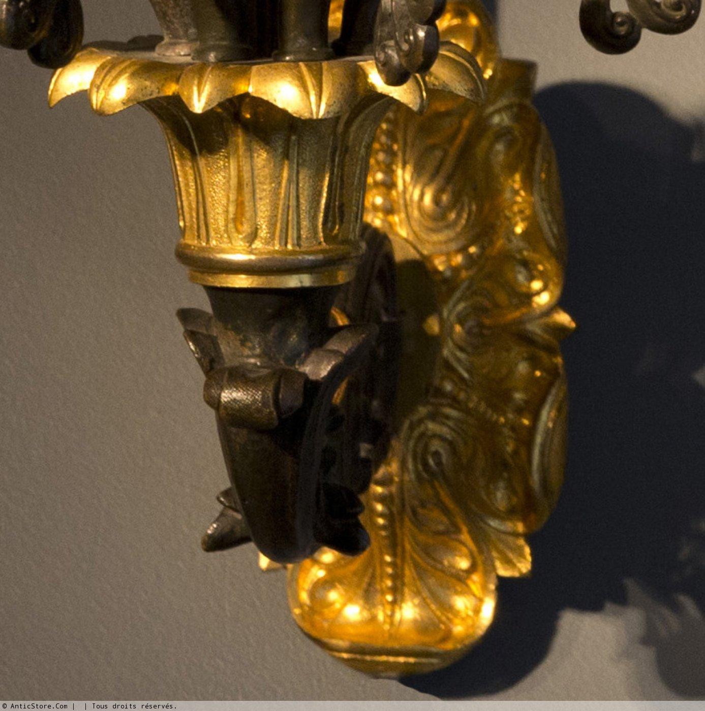 Paire d 39 appliques d 39 poque restauration en bronze dor xixe si cle - Galerie gilles linossier ...