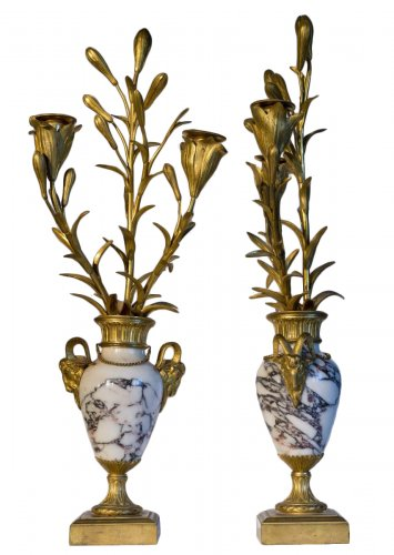Pair of Louis XVI marble and bronze cassolettes