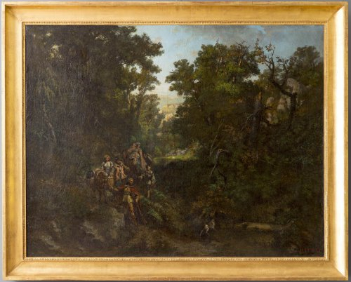 Hunting Scene Painting, signed P. Leray