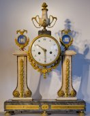 A Louis XVI marble and Wedgwood portico clock
