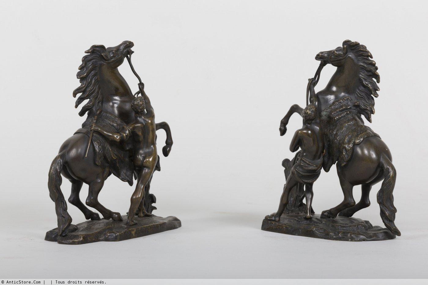 Paire de chevaux de marly en bronze d 39 apr s coustou xixe si cle - Galerie gilles linossier ...