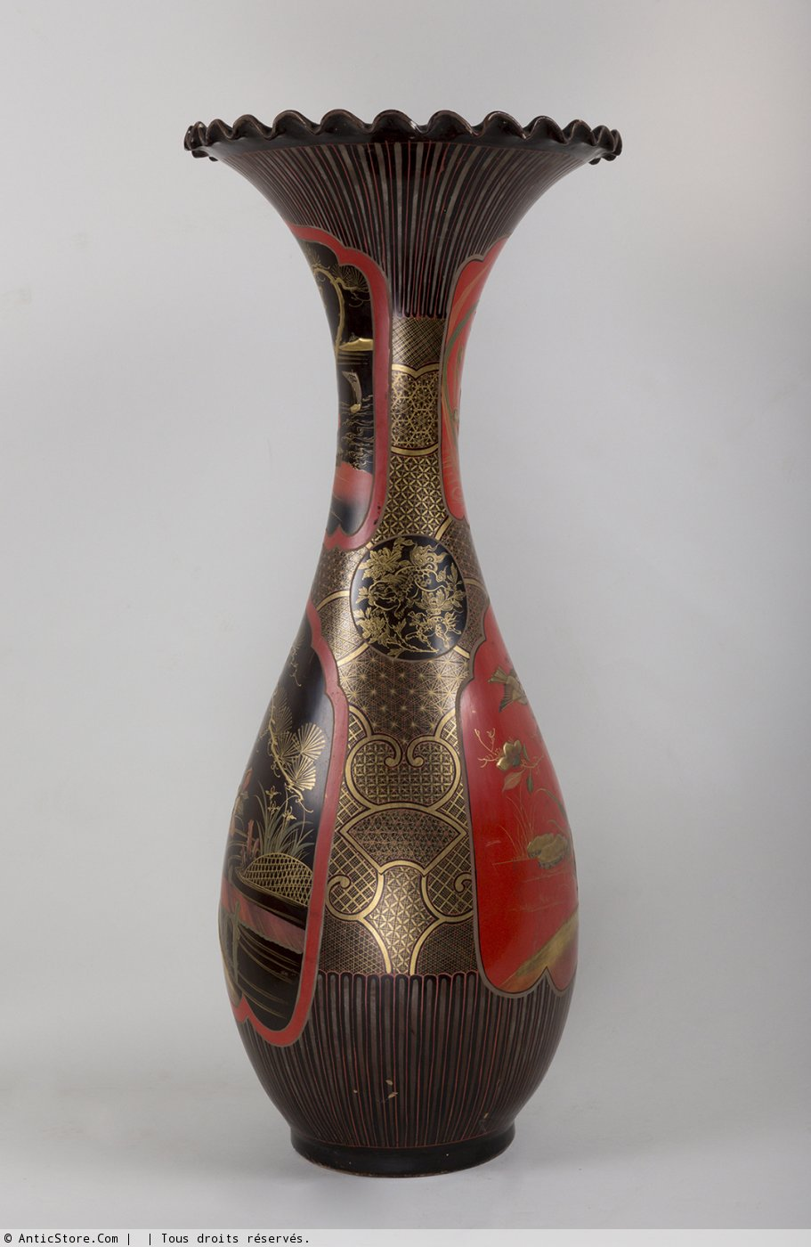 Paire de vases japonais en fa ence laqu e xixe si cle - Galerie gilles linossier ...