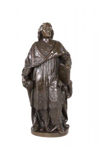 A bronze figure of Bossuet by Albert-Ernest Carrier Belleuse