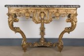 Carved giltwood console table of Regence period