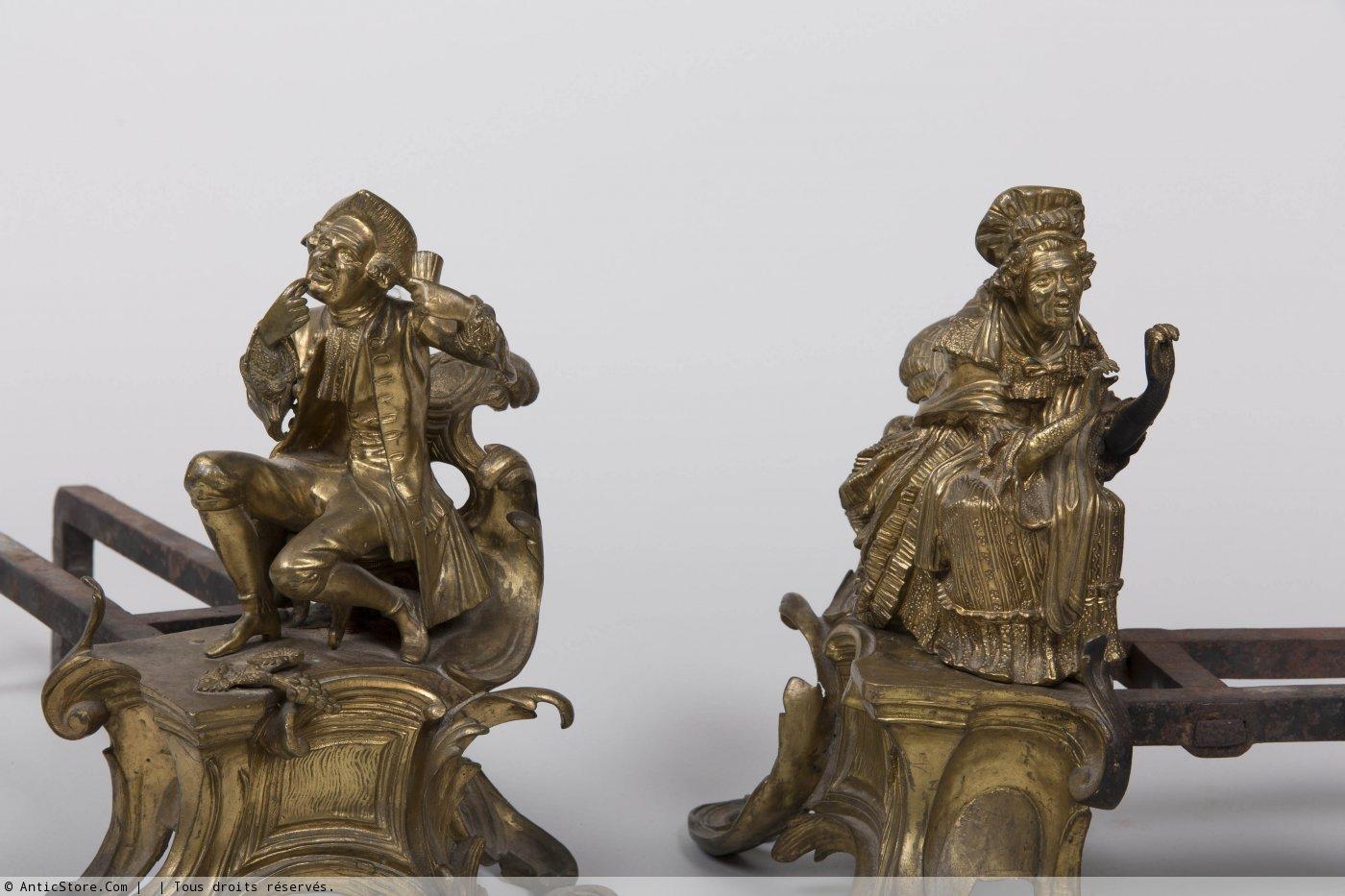 Paire de chenets en bronze dor d 39 poque r gence xviiie si cle - Galerie gilles linossier ...