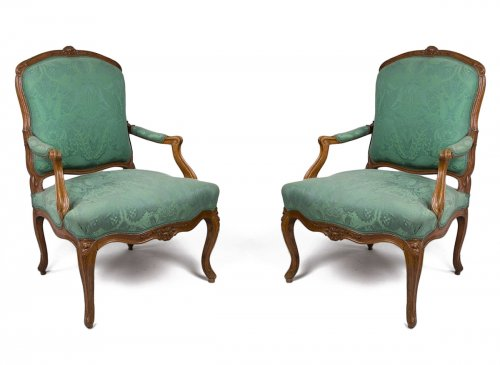 Pair of Louis XV armchairs stamped Blanchard