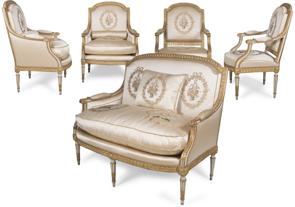 Grand mobilier de salon d 39 poque louis xvi xviiie si cle - Salon louis xvi ...