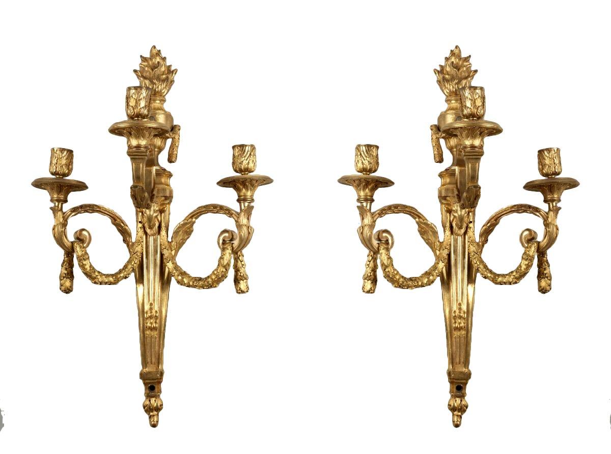 paire d 39 appliques en bronze dor xviiie si cle. Black Bedroom Furniture Sets. Home Design Ideas