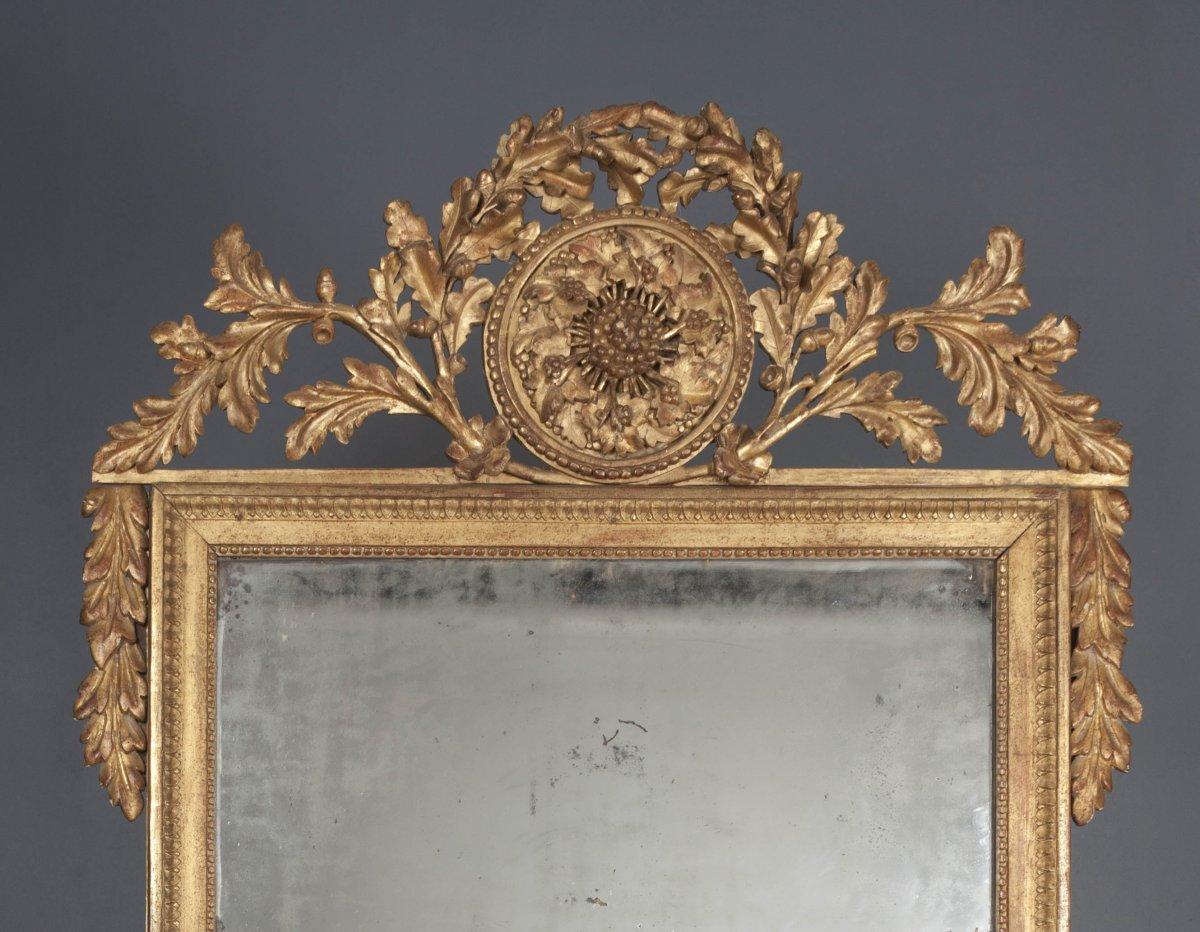 Miroir fronton en bois dor d 39 poque louis xvi xviiie for Miroir louis 16